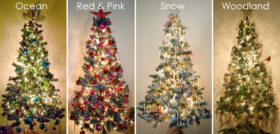 themed Christmas trees